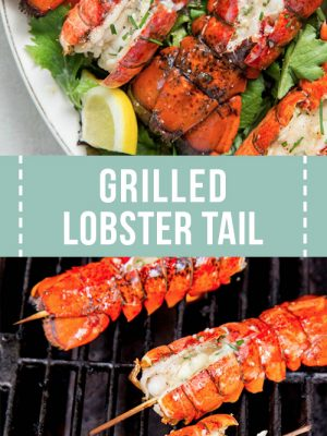Four grilled lobster tails on the grill