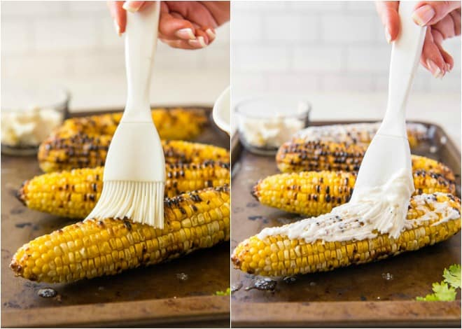 Spread butter and mixture onto Mexican corn on the cob.