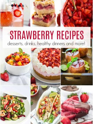 A collage of strawberry recipes including desserts, drinks and more.