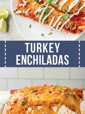 Turkey enchiladas served on a plate.