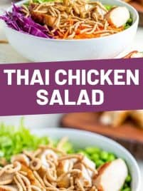 thai chicken salad in a bowl