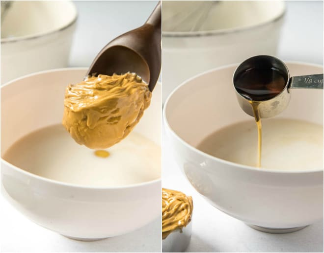 Scoop of peanut butter into a bowl.