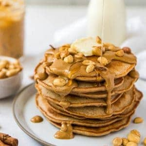 A big stack of peanut butter pancakes