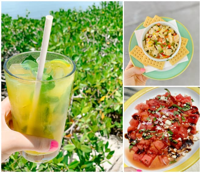 Mojito with conch salad and watermelon salad.