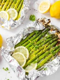 grilled asparagus in foil with lemon zest and garlic