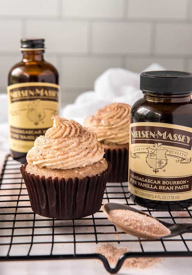 Snickerdoodle cupcakes with frosting and Nielsen Massey vanilla