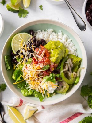 A large veggie burrito bowl