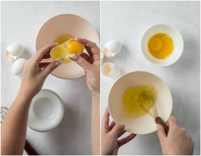 Crack an egg and separate egg whites