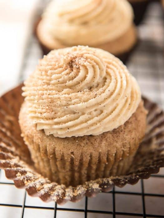 Homemade snickerdoodle cupcakes made with brown butter, vanilla and more fresh ingredients.