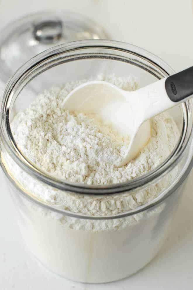 Jar of homemade cake flour
