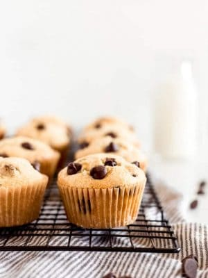 chocolate chip muffins on black wire cooling rack