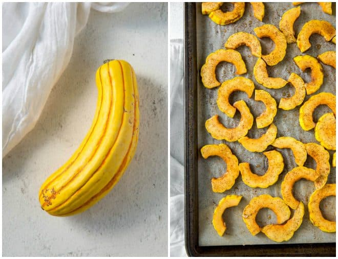 a sheet pan of roasted delicata squash