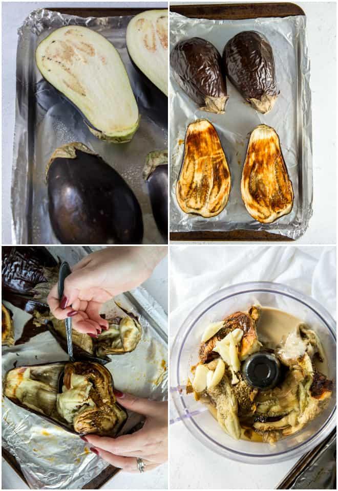 making roasted eggplant for baba ganoush