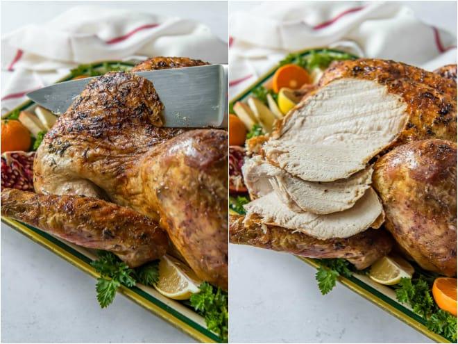 Slice a turkey with a knife