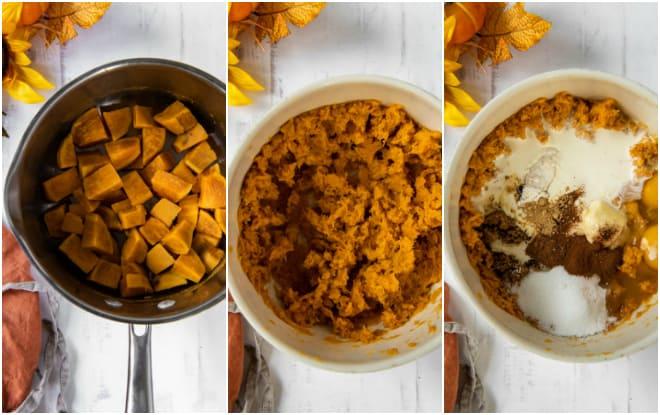 preparing sweet potatoes for pie