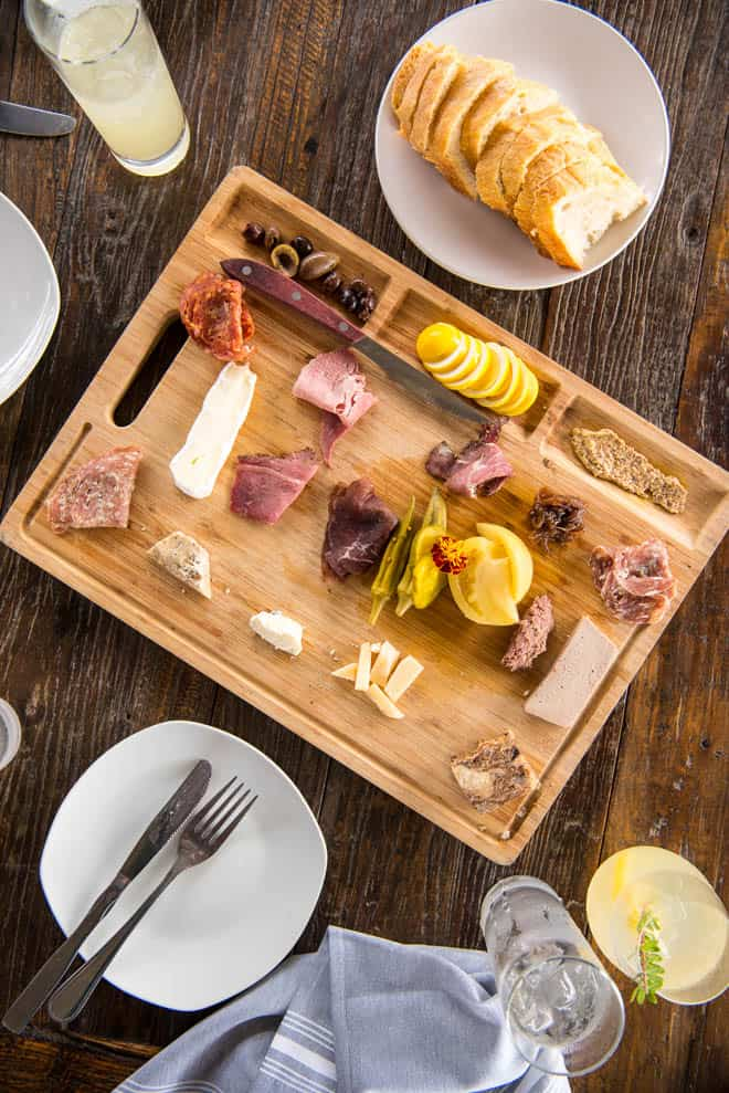 charcuterie board at Rosy Tomorrow's