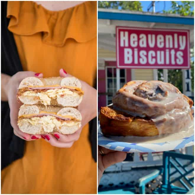 bagel at tuckaway cafe and cinnamon roll at heavenly biscuit