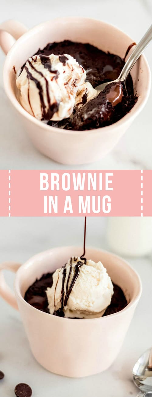 chocolate brownie in a mug