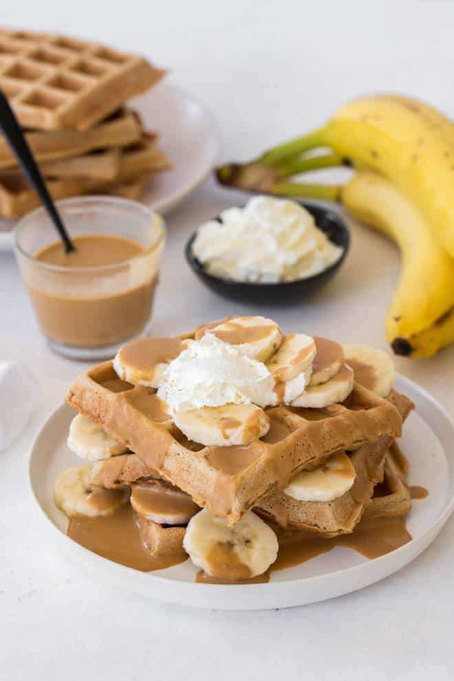 Easy homemade waffles with peanut butter and banana