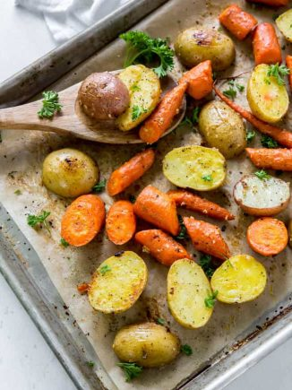 Easy oven roasted potatoes and carrots on a sheet pan