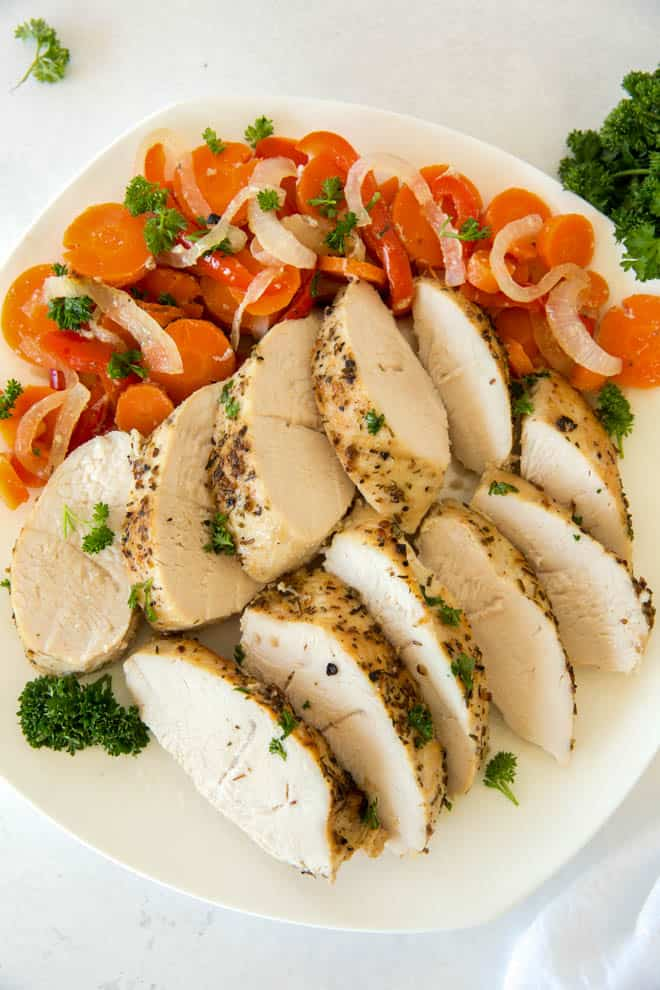 easy turkey tenderloin cut on a plate