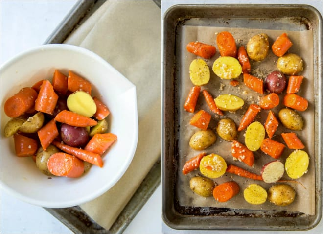 raw potatoes and carrots on a sheet pan with garlic and olive oil