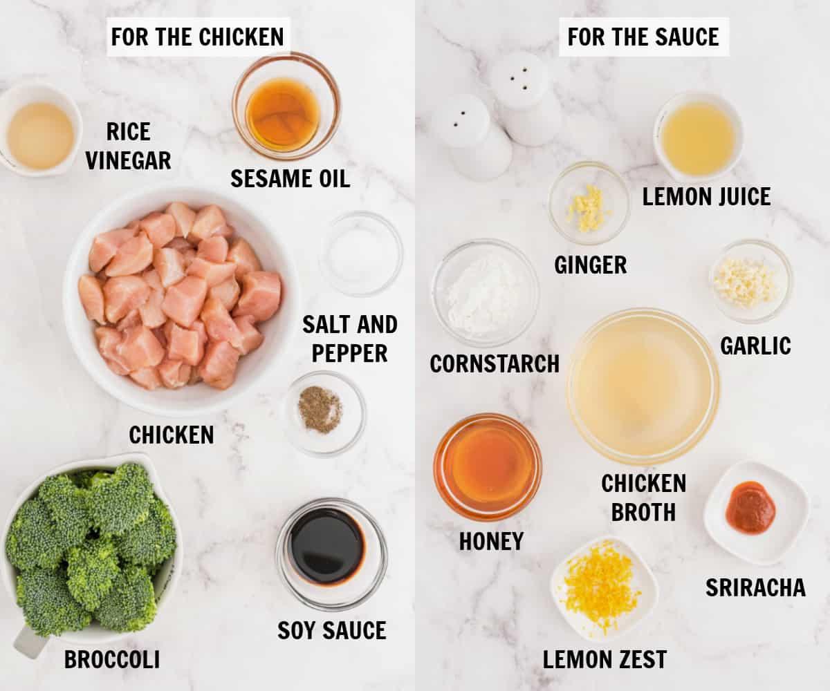 lemon chicken stir fry ingredients on a white tabletop