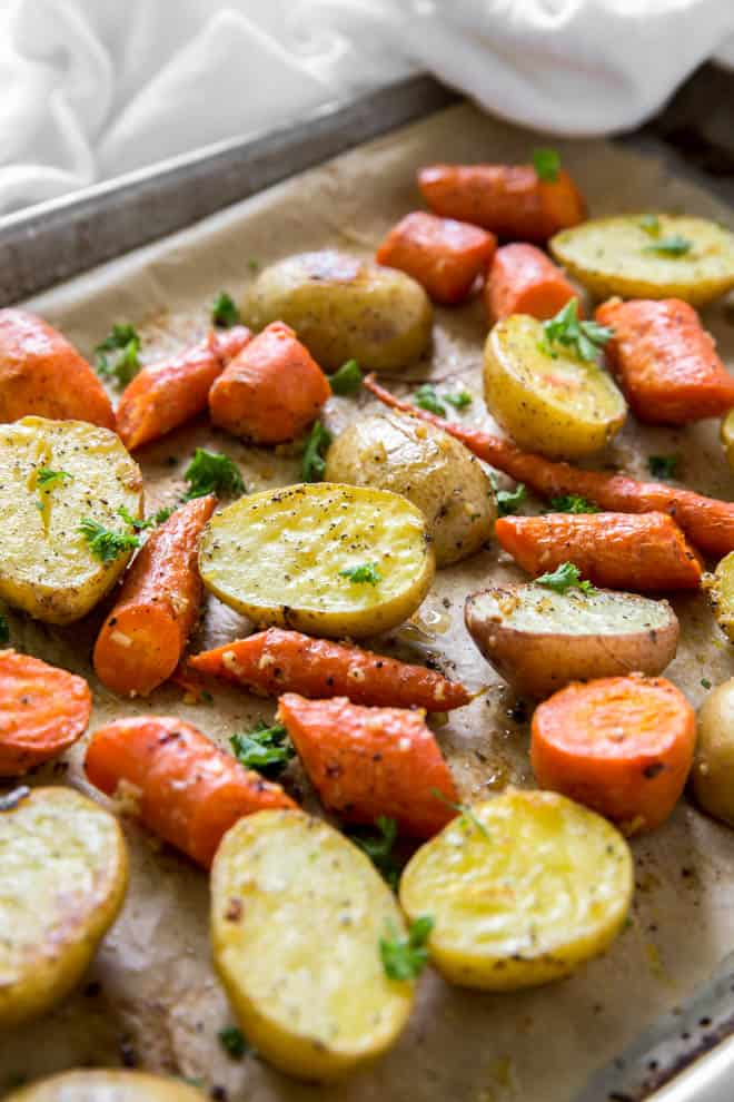 roasted potatoes and carrots with parsley