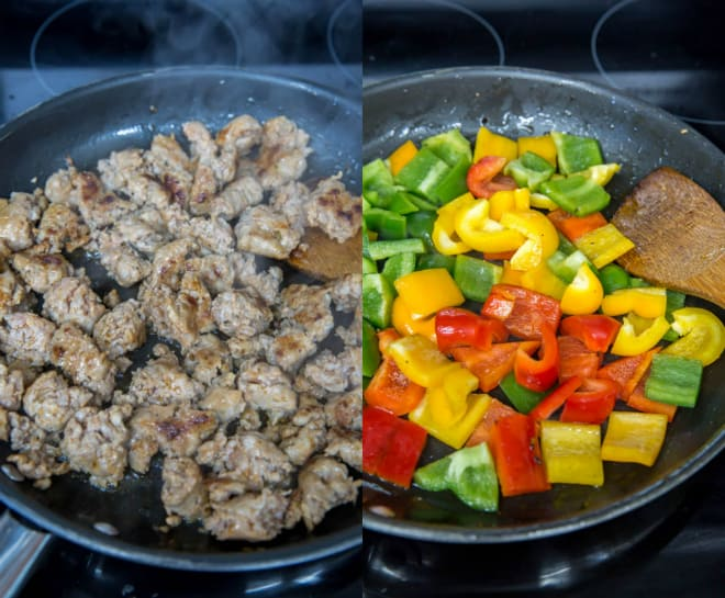 sausage and peppers in a skillet