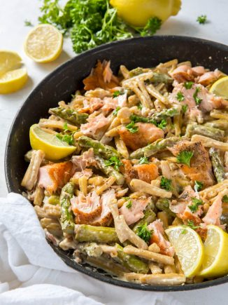 skillet with lemon asparagus pasta with salmon