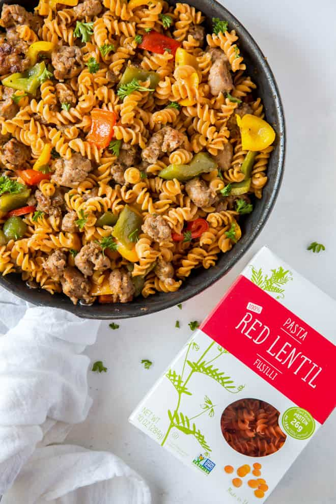 sausage and peppers fusilli