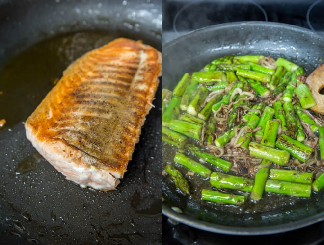 seared salmon in a pan with asparagus and shallots