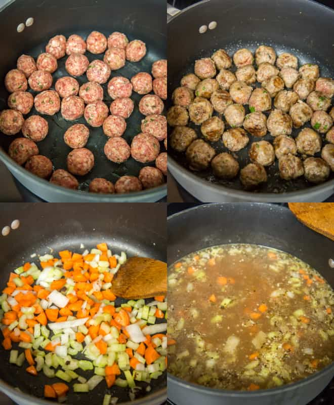 cooked meatballs with vegetables and seasonings in a pot