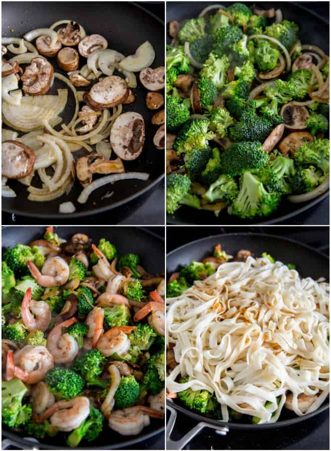 cooking vegetables and shrimp with noodles in a skillet