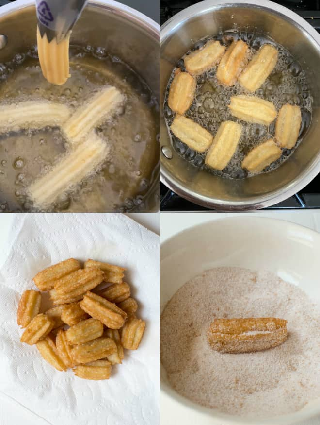 frying churros in oil in a pan