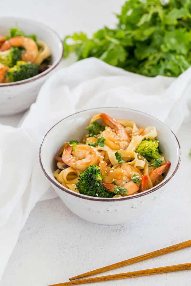 white bowl with shrimp lo mein