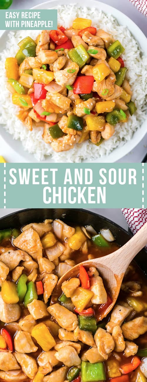 collage with two photos of sweet and sour chicken in a bowl with rice