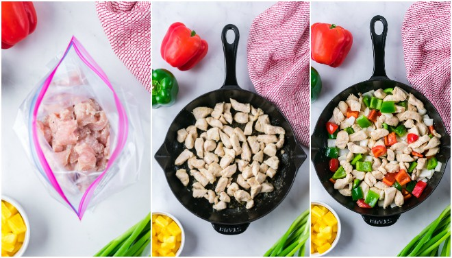 collage of photos with raw chicken, then chicken cooked in a skillet and chicken with red and green bell peppers