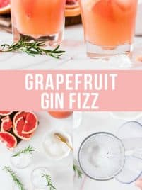 two clear glasses with grapefruit gin fizz garnished with rosemary and grapefruit slice