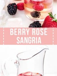 glasses filled with berry rose sangria and fresh blackberries, strawberries and raspberries