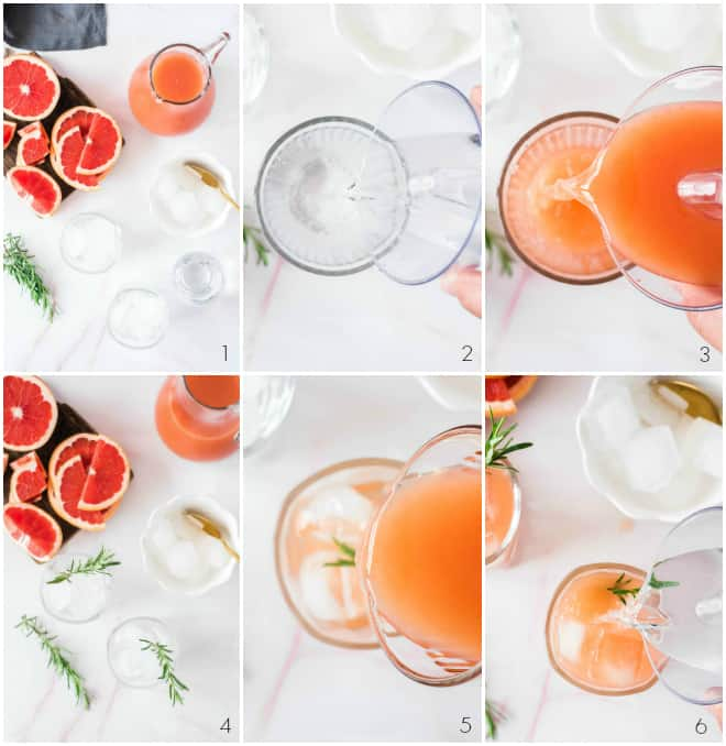 step by step pouring gin and then grapefruit into a glass with ice and fresh rosemary