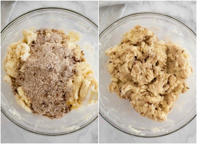 coffee cake muffin batter in a glass bowl on a white background