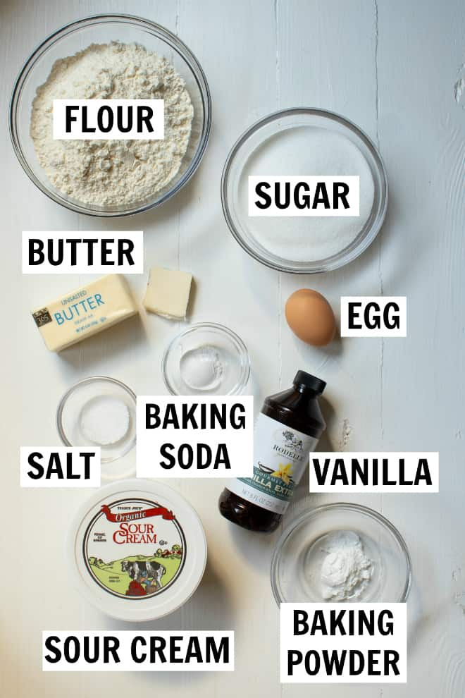 ingredients for coffee cake muffins on a white table