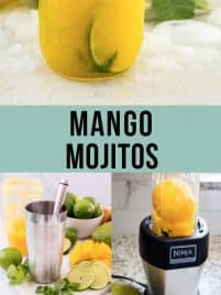 mango mojito recipe collage with photos of the completed recipe