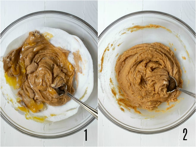 mixing together ingredients for peanut butter cookies in a bowl