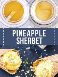 collage featuring steps to make pineapple sherbet