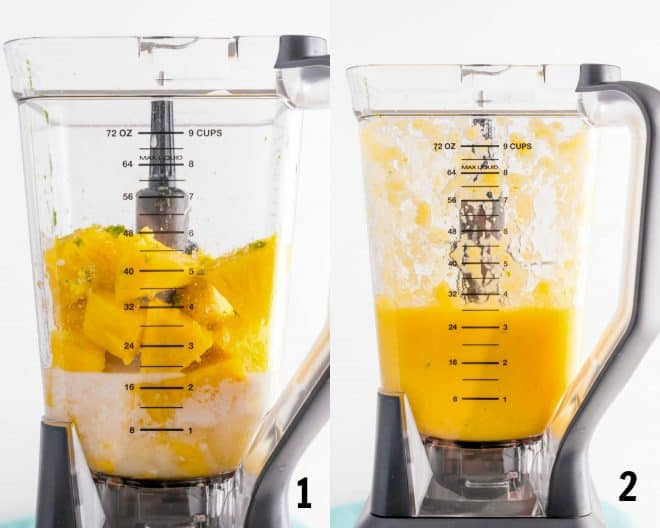 pureed ingredients for pineapple sherbet in a blender
