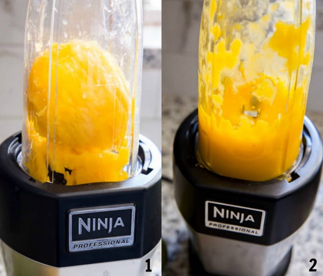 mango in a blender before and after pureeing