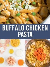 collage with buffalo chicken pasta and steps to make