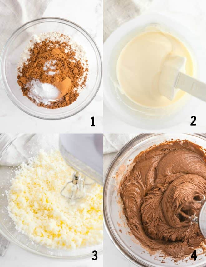 first four steps to make the chocolate cupcake batter for cupcakes